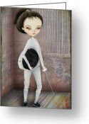Jessica Grundy Greeting Cards - The Fencer Greeting Card by Jessica Grundy