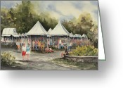 Tent Greeting Cards - The Festival Greeting Card by Sam Sidders