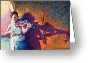 Musicians Pastels Greeting Cards - The Fiddler from Julliard Greeting Card by Ellen Dreibelbis