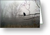 Crow Digital Art Greeting Cards - The Field Greeting Card by Gothicolors With Crows