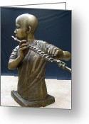 Bronze Sculpture Greeting Cards - The Fifer Greeting Card by Curtis James