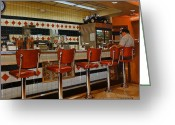 Eateries Greeting Cards - The Fifties Diner 2 Greeting Card by Doug Strickland