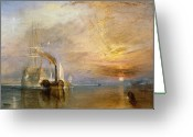 Fighting Painting Greeting Cards - The Fighting Temeraire Tugged to her Last Berth to be Broken up Greeting Card by Joseph Mallord William Turner