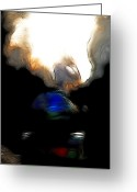 Locomotives Greeting Cards - The Final Junction Bound For A Place I Once Called Home . Abstract . Tall Version Greeting Card by Wingsdomain Art and Photography