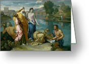 Poussin Greeting Cards - The Finding of Moses Greeting Card by Nicolas Poussin