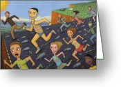 Humor Greeting Cards - The Finish Line Greeting Card by James W Johnson