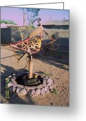 Landscapes Sculpture Greeting Cards - The Fire Bike Greeting Card by JP Giarde