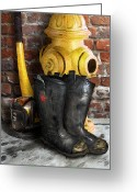 Fireman Boots Greeting Cards - The Fireman Greeting Card by Bill Fleming