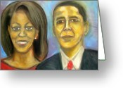 Michelle-obama Drawings Greeting Cards - The First Couple Greeting Card by Jan Gilmore