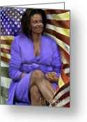 African American Female Greeting Cards - The First Lady-American Pride Greeting Card by Reggie Duffie