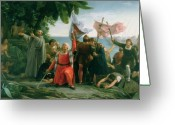 Landing Painting Greeting Cards - The First Landing of Christopher Columbus Greeting Card by Dioscoro Teofilo Puebla Tolin