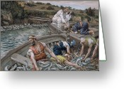 Boat Greeting Cards - The First Miraculous Draught of Fish Greeting Card by Tissot