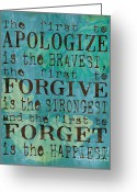 Teal Greeting Cards - The First to Apologize Greeting Card by Debbie DeWitt