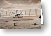 Airplane Greeting Cards - The First to Fly Greeting Card by Kenneth Young