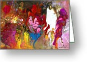 Figures Mixed Media Greeting Cards - The First Wedding Greeting Card by Miki De Goodaboom