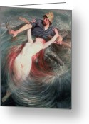 Mythological Greeting Cards - The Fisherman and the Siren Greeting Card by Knut Ekvall