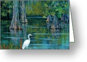 Crane Greeting Cards - The Fisherman Greeting Card by Dianne Parks