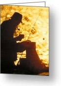Smoker Greeting Cards - The Fisherman Greeting Card by Garry McMichael