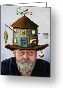 Weather Vane Greeting Cards - The Fisherman Greeting Card by Leah Saulnier The Painting Maniac
