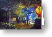 Surrealistic Painting Greeting Cards - The fisherman of memories Greeting Card by Fernando Alvarez