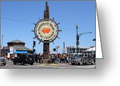 Traffic Greeting Cards - The Fishermans Wharf Sign . San Francisco California . 7D14224 Greeting Card by Wingsdomain Art and Photography