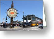Traffic Greeting Cards - The Fishermans Wharf Sign . San Francisco California . 7D14232 Greeting Card by Wingsdomain Art and Photography