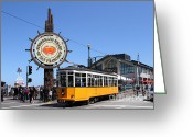 Traffic Greeting Cards - The Fishermans Wharf Sign . San Francisco California . 7D14234 Greeting Card by Wingsdomain Art and Photography