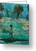 Fish Pond Painting Greeting Cards - The Fishing Boy Greeting Card by Ed Akers