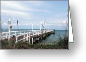 Boca Grande Prints Greeting Cards - The Fishing Pier Greeting Card by Geralyn Palmer