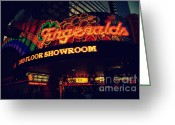 Fremont Street Greeting Cards - The Fitzgerald in Down Town Las Vegas Greeting Card by Susanne Van Hulst