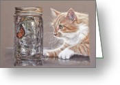 Pet Pastels Greeting Cards - The Fixation Greeting Card by Terry Kirkland Cook