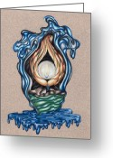 Swirls Drawings Greeting Cards - The Flame Never Dies Greeting Card by Karen Musick