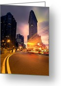 Point Of View Greeting Cards - The Flat Iron Building with some magic happening Greeting Card by John Farnan