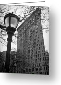 Manhattan Street Scenes Greeting Cards - The Flatiron Building in New York City Greeting Card by Ilker Goksen