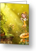 Surreal Mushrooms Greeting Cards - The Flautist Greeting Card by Simone Gatterwe