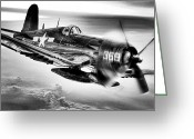 Pilots Greeting Cards - The Flight Home BW Greeting Card by JC Findley