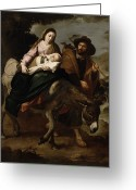 Bartolome Esteban Murillo Greeting Cards - The Flight into Egypt Greeting Card by Bartolome Esteban Murillo