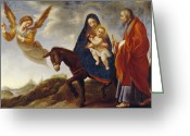 Jesus Painting Greeting Cards - The Flight into Egypt Greeting Card by Carlo Dolci