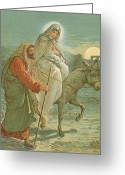 Jesus Painting Greeting Cards - The Flight into Egypt Greeting Card by John Lawson
