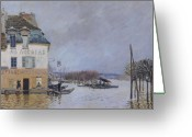 River Flooding Greeting Cards - The Flood at Port Marly Greeting Card by Alfred Sisley