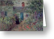 Jardin Painting Greeting Cards - The Flower Garden Greeting Card by Abbott Fuller Graves