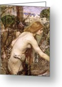 Picker Greeting Cards - The Flower Picker  Greeting Card by John William Waterhouse