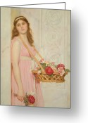 Roses Petals Greeting Cards - The Flower Seller Greeting Card by George Lawrence Bulleid