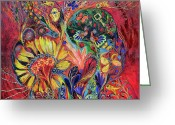 Signed Greeting Cards - The Flowering Greeting Card by Elena Kotliarker