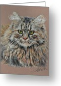 House Pastels Greeting Cards - The Fluffy Feline Greeting Card by Terry Kirkland Cook