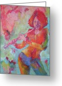 Musicians Glass Greeting Cards - The Flute Player Greeting Card by Susanne Clark