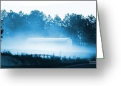 Woodlands Mixed Media Greeting Cards - The Fog Greeting Card by Maria Urso - Artist and Photographer