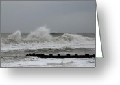 Surf Photos Art Greeting Cards - The Force Of Nature - Jersey Shore Greeting Card by Angie McKenzie