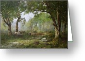 The Glade Greeting Cards - The Forest of Fontainebleau Greeting Card by Leon Richet