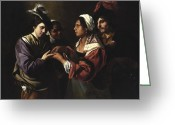 Gipsy Greeting Cards - The Fortune Teller Greeting Card by Bartolomeo Manfredi